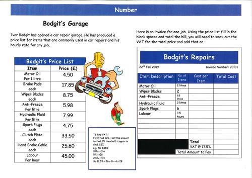 Functional Skills Maths - Number EL3 to L1 - Bodgi'ts Garage