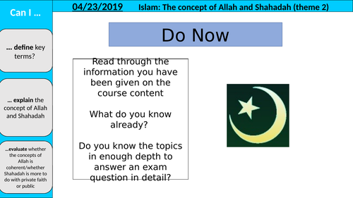 Eduqas WJEC AS Islam Theme 2 part A, the concept of Allah and Shahadah