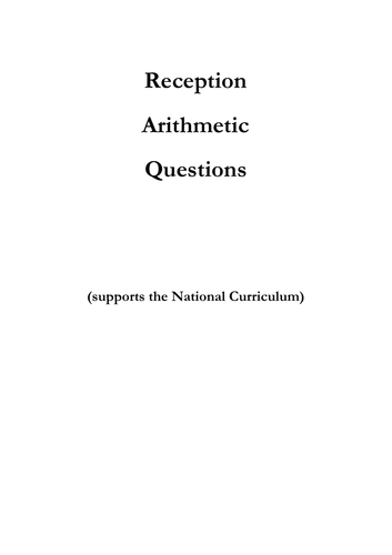 cd383e75c8566 Arithmetic Workbook and Questions for Reception by jewish1 ...