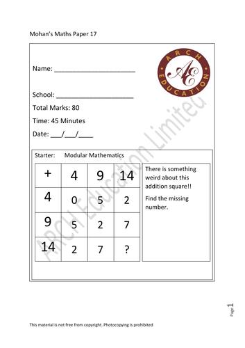 11 plus preparation Maths paper