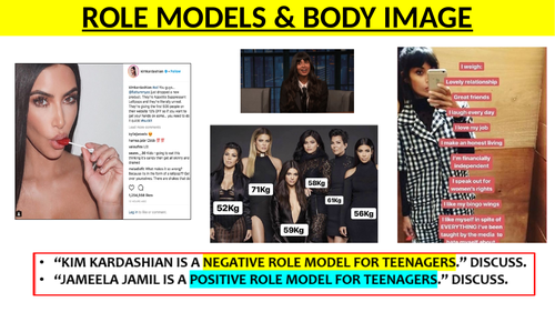 Body Image and Role Models lesson (Jameelia Jamil & Kim Kardashian)