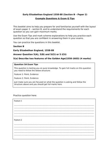 Edexcel GCSE Help - Elizabethan England exam tips and structure booklet.