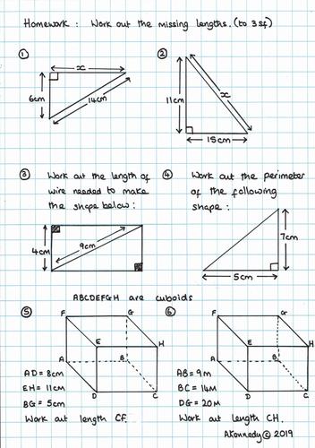 TMA - Pythagoras' Theorem Homework and ANSWERS