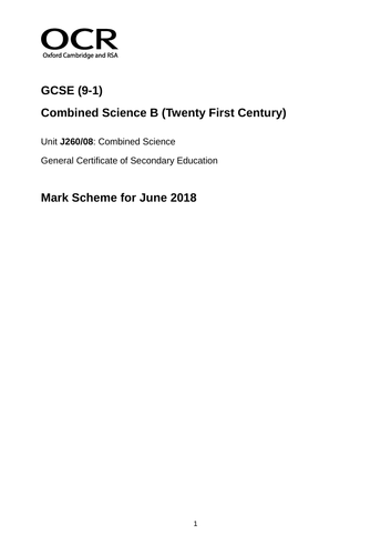 GCSE - OCR 21st Century Data & Analysis Paper (QUESTION/MARK SCHEME)
