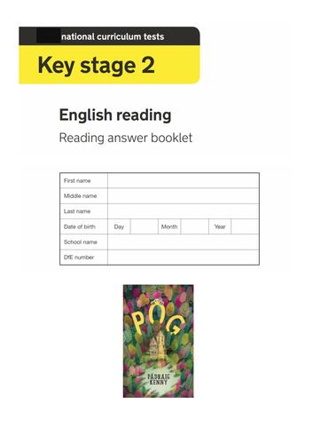 Y6 KS2 Reading Paper Fiction SATs Style test comprehension questions Pog