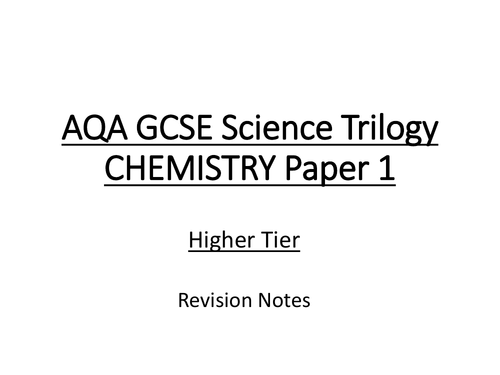 AQA GCSE 9-1 TRILOGY Chemistry Paper 1 Section C5 Higher Tier Revision with Required Practical