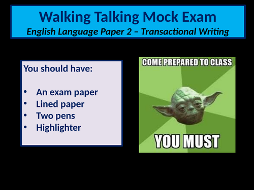 Transactional Writing Walking Talking Mock