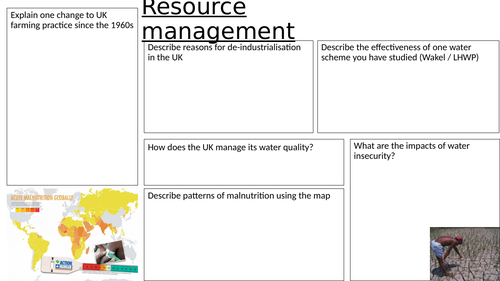 Resource Management revision sheet AQA Geography