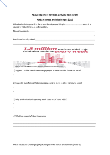 GCSE Geography Urban Issues and Challenges