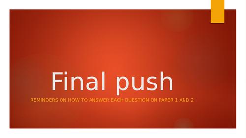 Final push - English GCSE Breakdown