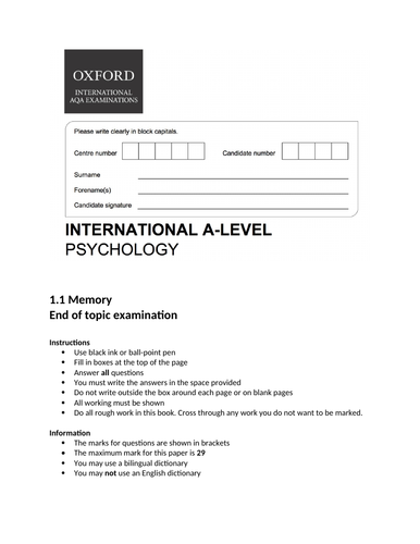 Oxford International AS Psychology - Memory - End of topic exam
