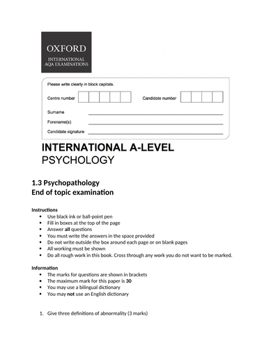 Oxford International AS Psychology - Psychopathology - End of topic exam