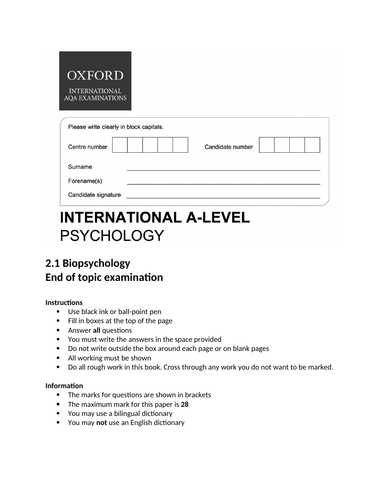 Oxford International Psychology - Biopsychology - End of topic exam