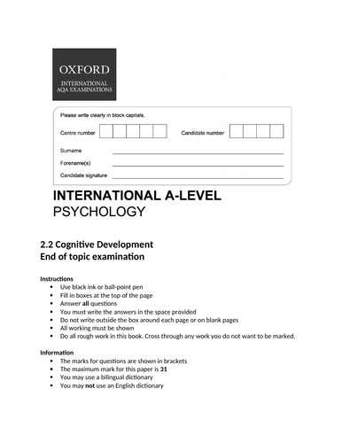 Oxford International AS Psychology - Cognitive Development - End of topic exam