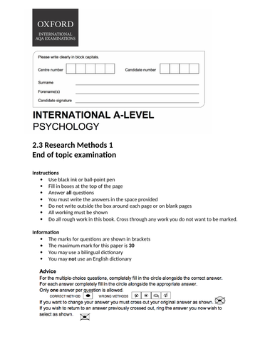 Oxford International Psychology - Research Methods - End of topic exam