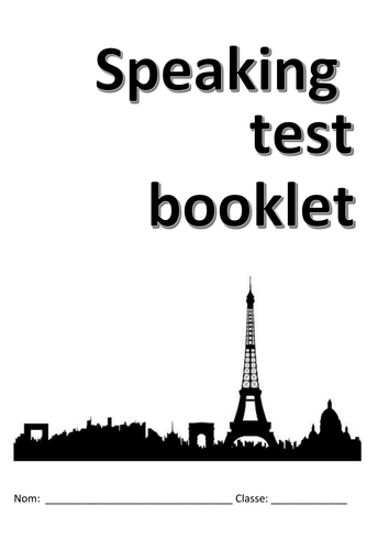 AQA new style French GCSE speaking exam booklet for students taking new exam 2018