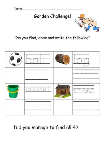 Outdoor Writing Challenge: Sheet 2