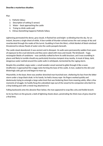 5x Paper 1 Question 5 exemplar responses for AQA GCSE English Language