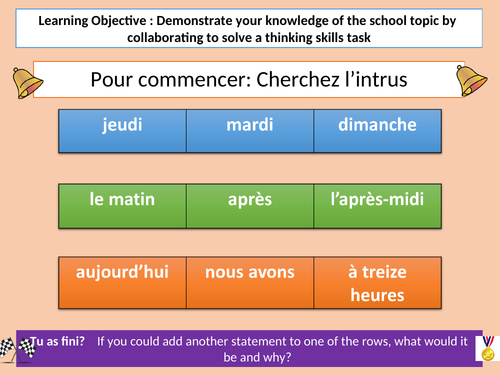 French Harry Potter Thinking Skills Lesson - School Topic