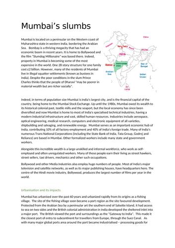 GCSE Geography Mumbai Slumbs Revision
