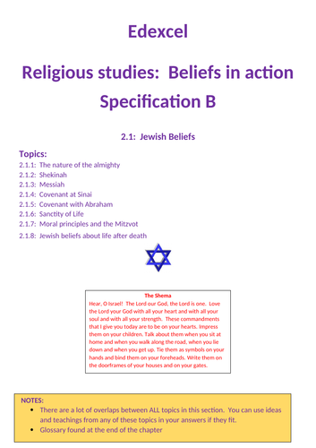 Revision:  Edexcel GCSE RS specification B - Jewish belief