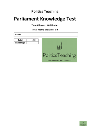UK Parliament 50 Mark Knowledge Test (With Answers) 2019 - Non Editable