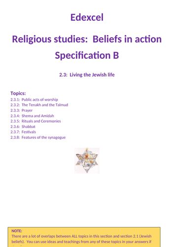 Revison GCSE Edexcel RS Specification B:  Living the jewish life