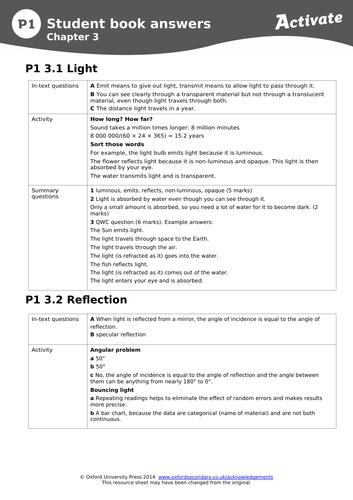 P1.3 Light- Activate scheme of work