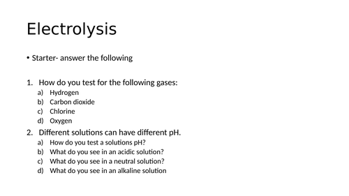 AQA C4 electrolysis revision