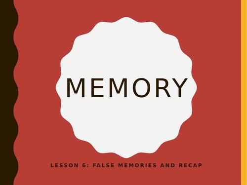 AQA GCSE Psychology (New Spec) Lesson 6/6: Memory- False Memories and Ethics