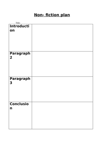 Year 2 - planning template for a Non-Fiction report.