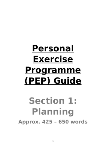 Personal Exercise Plan Teacher and Pupil Guide (Edexcel GCSE PE Specific)