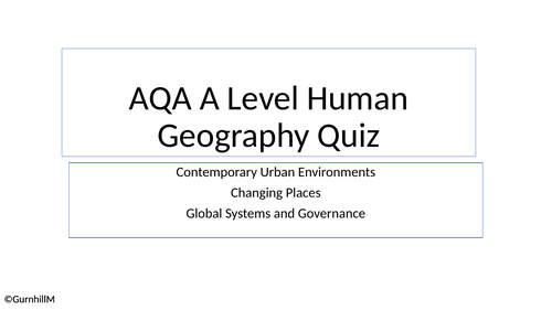 AQA A Level Gography - Human Key Word Quiz