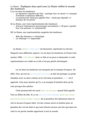French - A level - La Haine (essay - les banlieues)