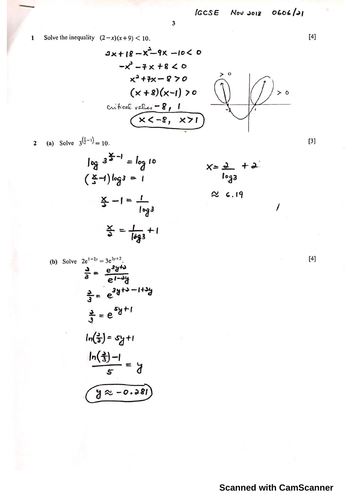 IGCSE Add Math November 2018 Paper 1 and 2 Worked Solutions