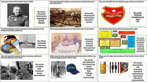 AQA GCSE Germany 1890-1945 student fill in flash cards