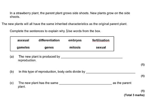 9-1 AQA GCSE Biology - U6 L2 Sexual vs Asexual Reproduction (T)