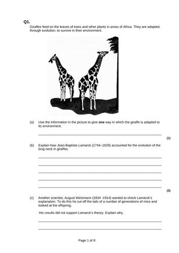 9-1 AQA GCSE Biology - U6 L5-7 Variation and Evolution