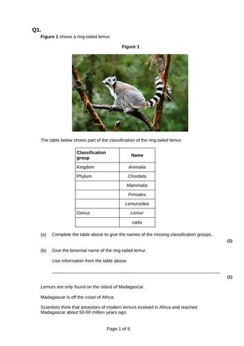 9-1 AQA GCSE Biology - U6 L10 Classification