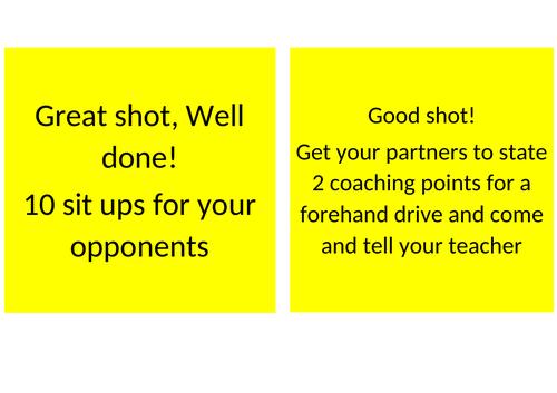 Table tennis Forehand/Backhand worksheets