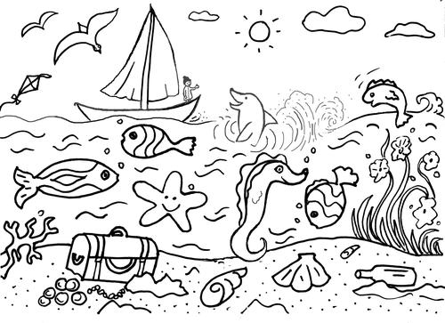 Ocean Life Colouring Sheet