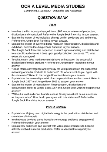 OCR A Level Media Studies - Question Bank - Comp 2, Section A