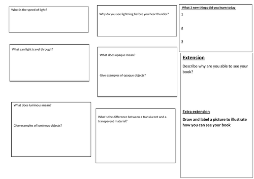 Light- Key stage 3  differentiated worksheet