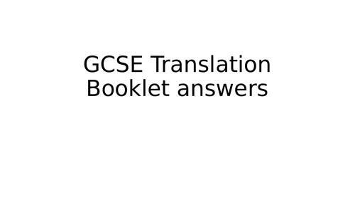 French GCSE Translation Booklet  answers