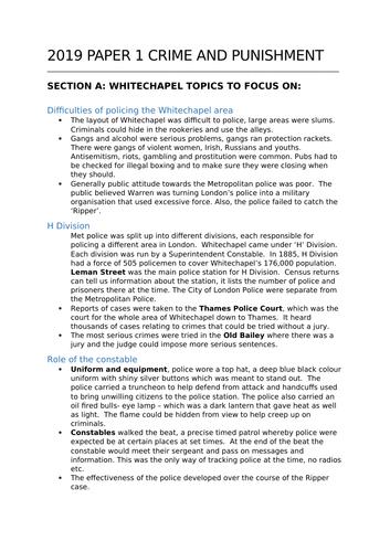 Edexcel Paper 1 Whitechapel,  Crime &  Punishment 2019 Revision , practice questions & model answers