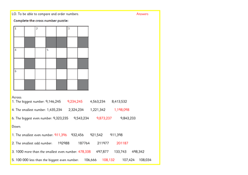 Ordering and comparing / place value number problem solving crossword