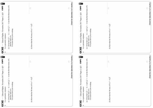 Geometric Sequences - Higher GCSE Questions