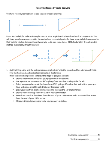 New GCSE: Resolving forces by scale drawing worksheet