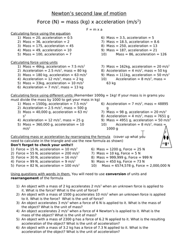 Newton's second law F=ma differentiated worksheet