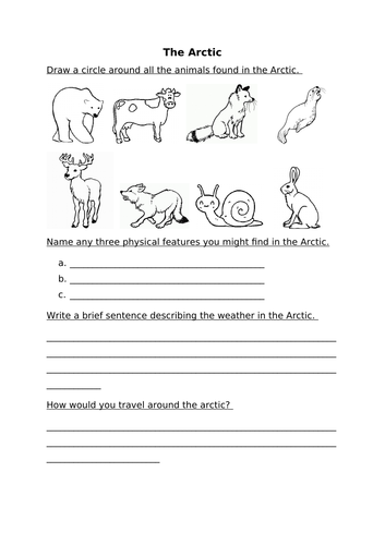 Arctic Worksheet